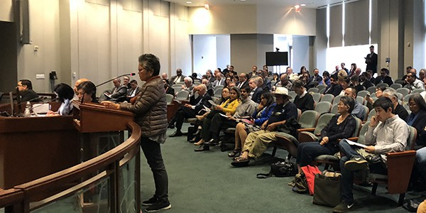 Director Evelyn Yoshimura speaks at a hearing at Metro Headquarters