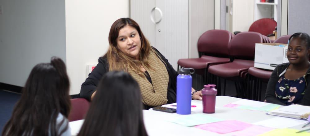 Nancy Alcaraz addresses the Youth Group.
