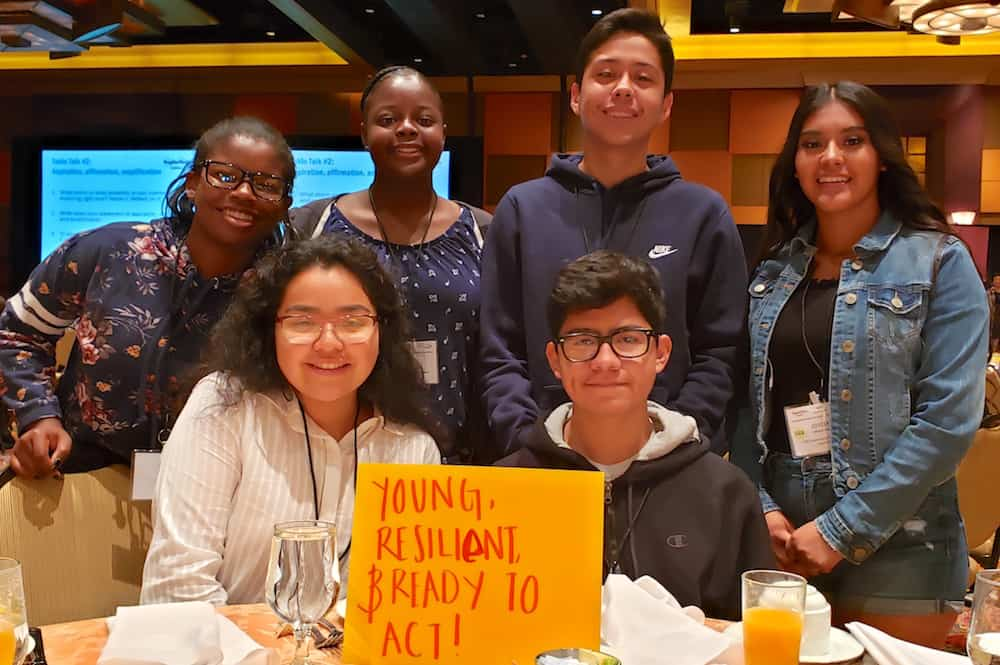 Gaby (front left) and other youth group members