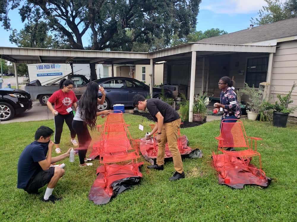Youth group members clean up damage from Hurricane Harvey