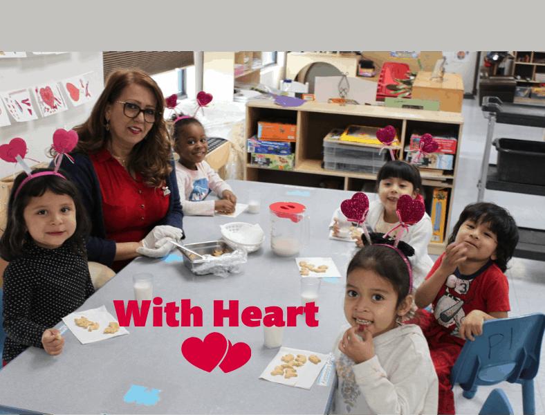 preschool kids celebrating valentine's day at school