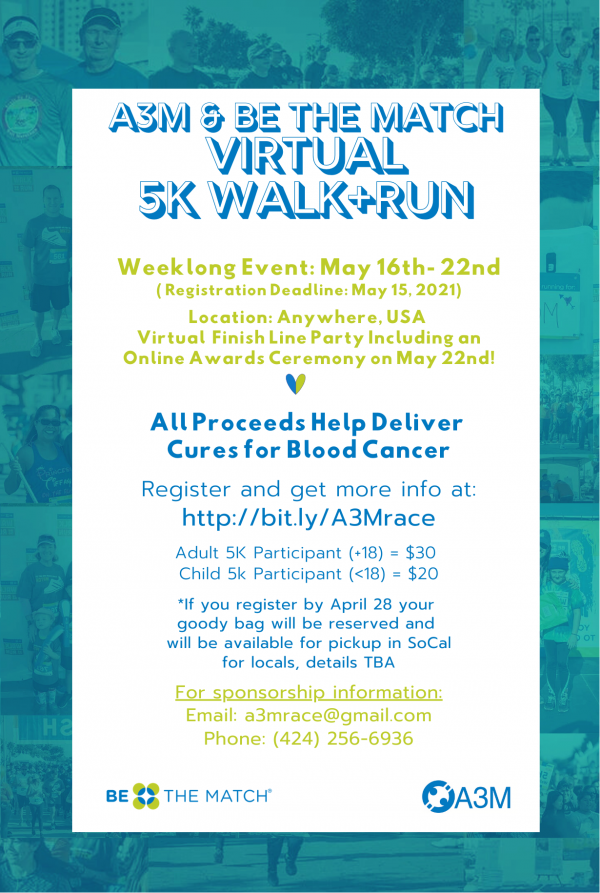 Flier for A3M & Be the Match Virtual Run/Walk Event