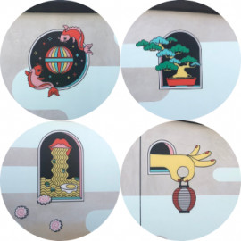 Collage of artwork installed on Children's wall at the Terasaki Budokan