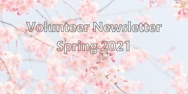 Volunteer Newsletter header with cherry blossom background