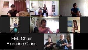 Screenshot of seniors enjoying a chair exercise class over zoom.