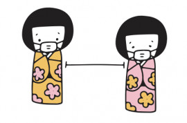 kokeshi dolls with masks staying 6ft apart