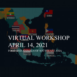 """Screen shot of a virtual workshop presentation, featuring a map of South East Asian, and text that reads, """"Food and animals of South East Asia""""."""