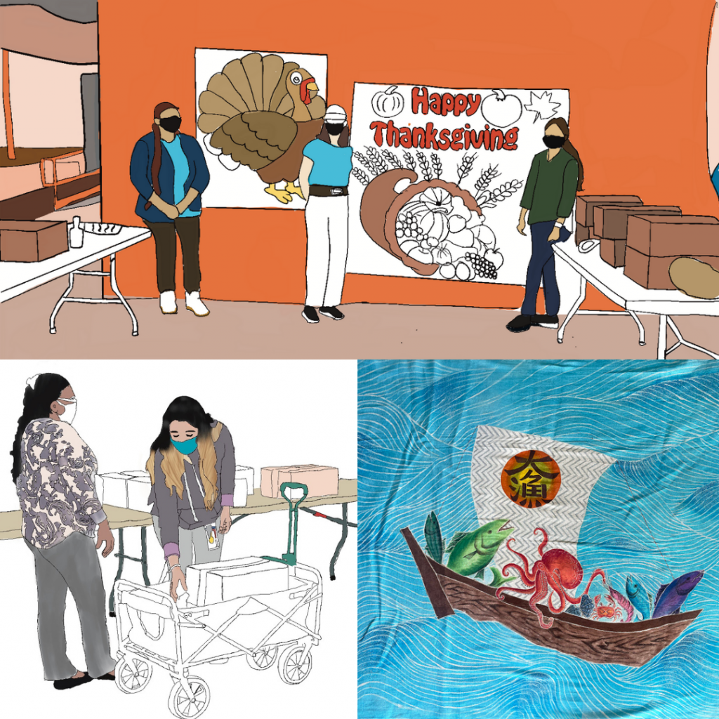 3 art pieces collaged together. Top piece shows 3 LTSC workers at a food drive for thanksgiving, bottom left illustration shows 2 LTSC workers packing a wagon with bags of food and last image shows 4 fish and an octopus on a boat on the ocean