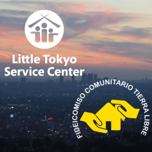 LTSC logo and Fideicomiso Comunitario Tierra Libre logo in front of a backdrop which depicts an LA sunset