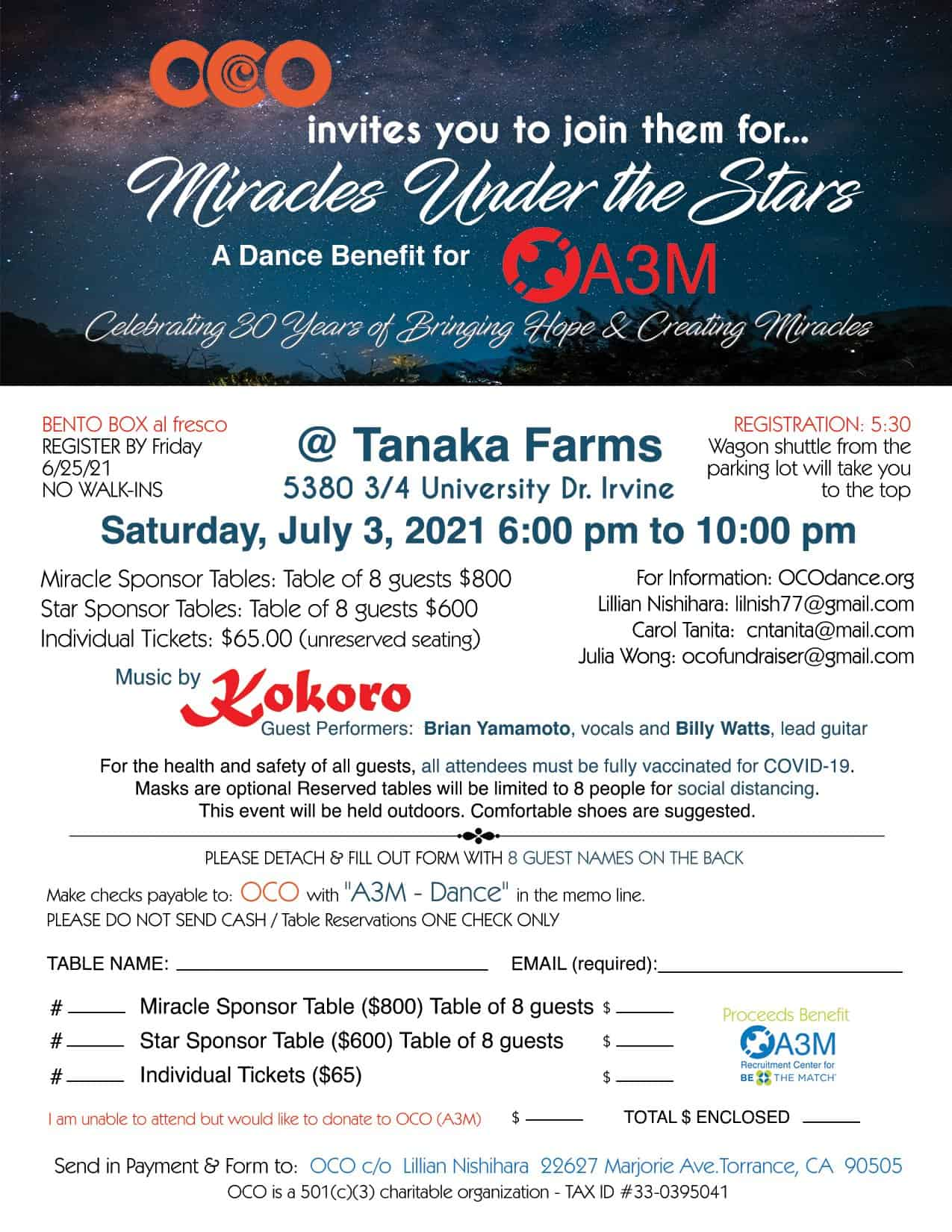 Miracles Under the Stars Flyer