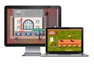 two computers displaying the virtual platform