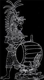 Print of aztec beating taiko drum