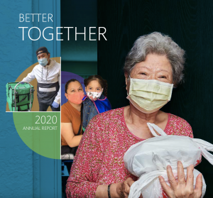 Annual Report Cover page with title text better together, 2020 annual report. Features LTSC clients, staff and volunteers in masks.