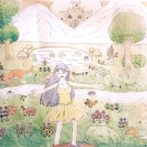 Girl dancing in a forest surrounded by flowers and animals