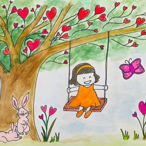 girl smiling on a swing under a tree with heart trees