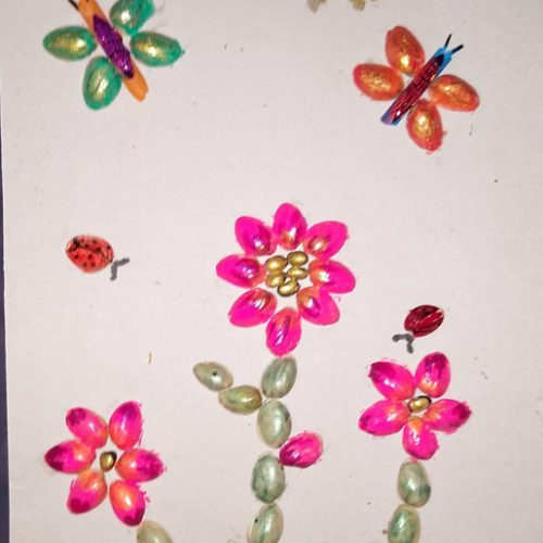 bugs flying over pink flowers