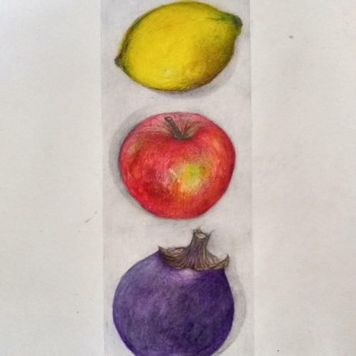 A lemon, apple and plum