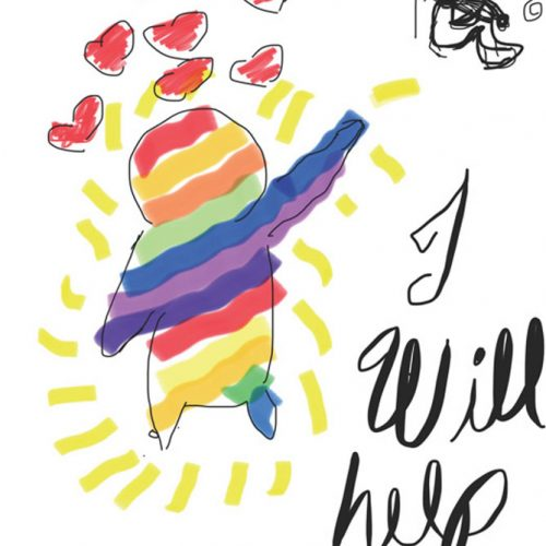 Rainbow figure reaching out to depressed figure, with text: I will help