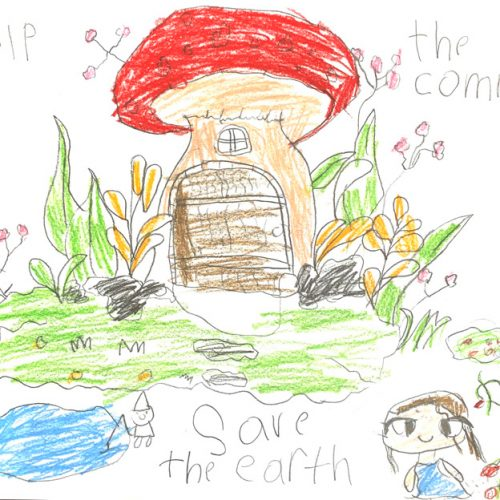 Red mushroom house in a marshy world with gnome and girl