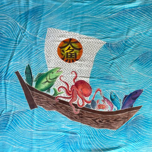 4 fish, an octopus, a crab and a shrimp on a boat with a blue ocean background